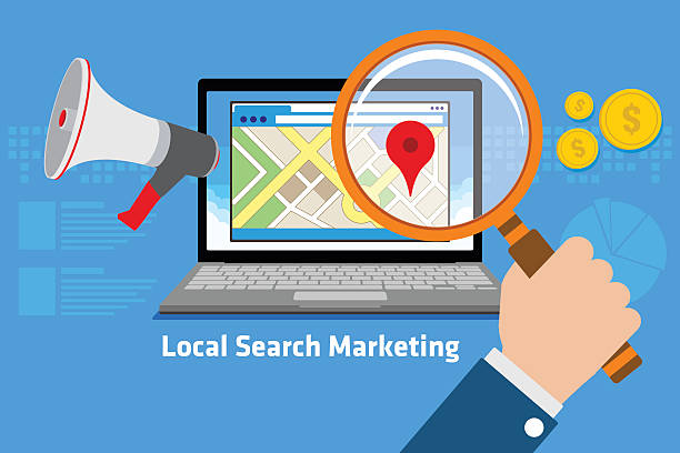 local search marketing - seo stock illustrations, clip art, cartoons, & icons