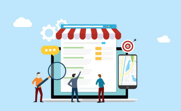 local seo market strategy business search engine optimization with team people working together on front of store and maps online - vector local seo market strategy business search engine optimization with team people working together on front of store and maps online - vector illustration seo stock illustrations