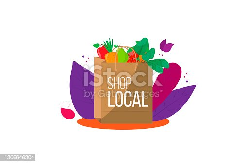 Local shop. Paper eco-package with fruits and vegetables on background of tropical leaves. Farm products. Eco-friendly shopping