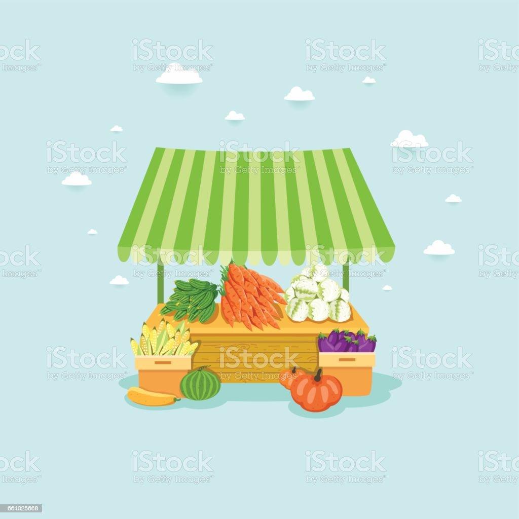 Mercado local da tenda. Carrinho do agricultor com legumes frescos: pepino, cenoura, repolho, milho, abóbora, abobrinha, berinjela, melancia - ilustração de arte em vetor