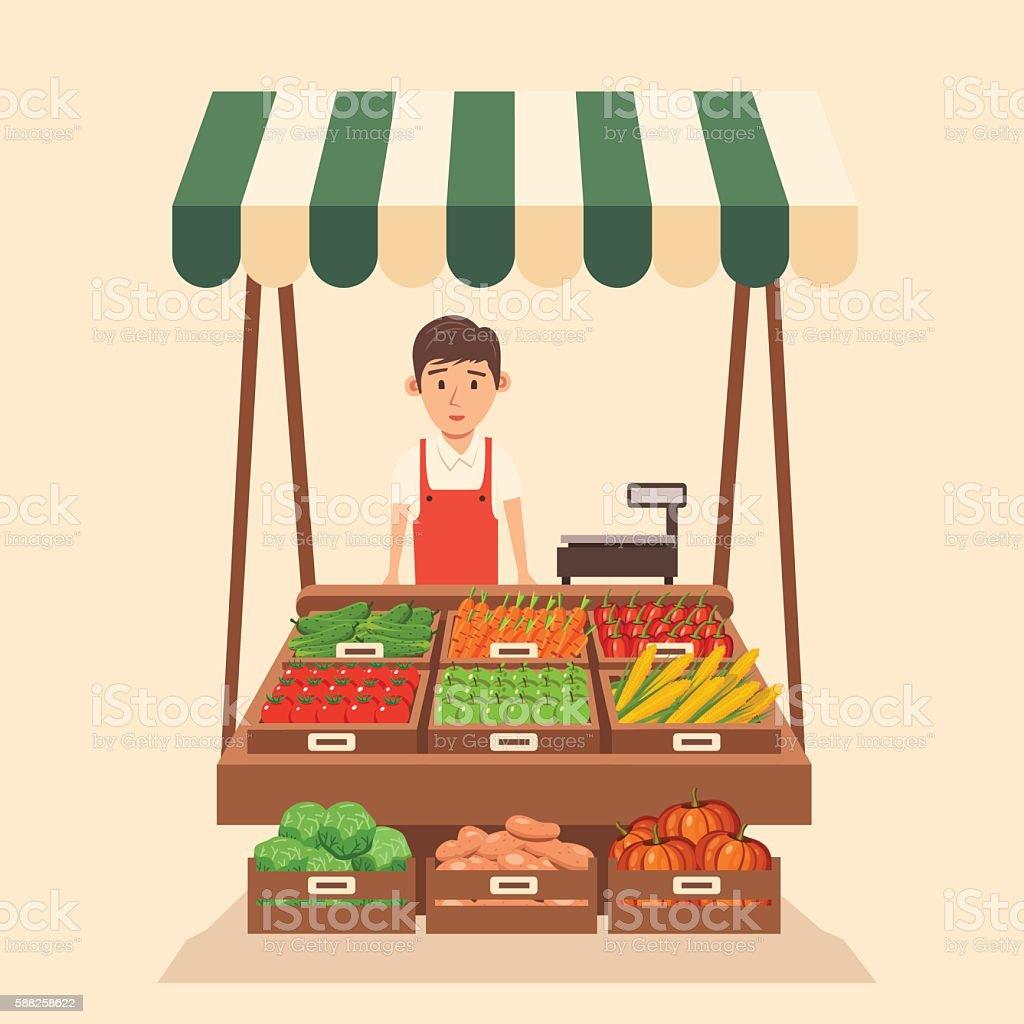 Local stall market. Selling vegetables. Flat vector illustration
