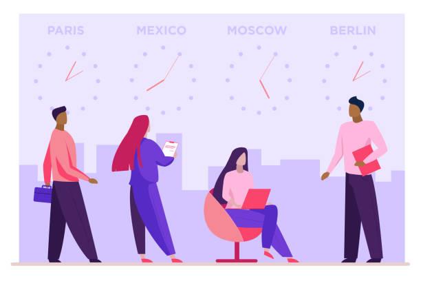 ilustrações de stock, clip art, desenhos animados e ícones de local time zones - berlin wall