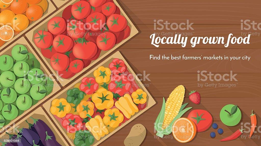 Locally grown food vector art illustration