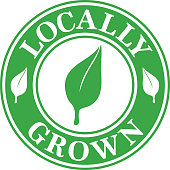 Vector illustration of a green and white locally grown label.