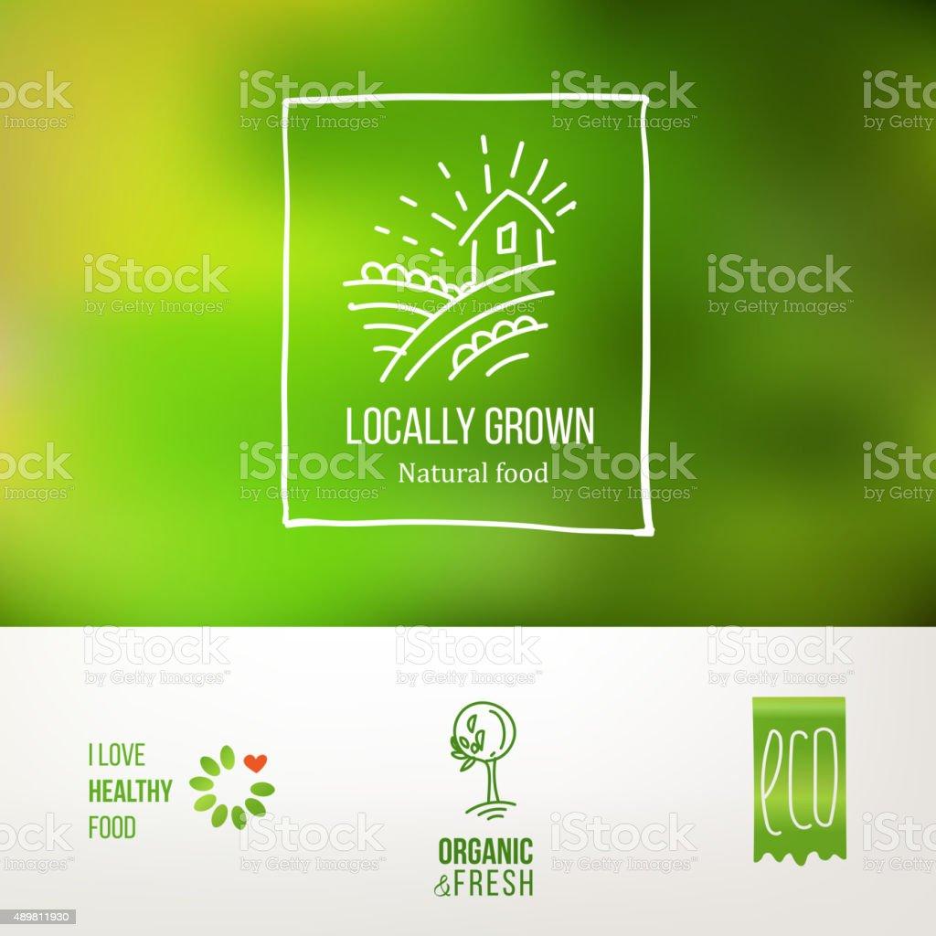 74a99388bc9 Des plats locaux naturels logo set des plats locaux naturels logo set –  vecteurs libres de