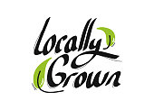 Locally Grown Organic Product Icons Vector Illustration Symbol Design Element