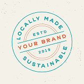 istock Locally Made Sustainable Product Stamp Design Symbol 1132836627