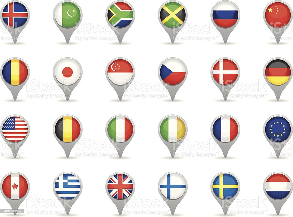 Locating phone icons with flags vector art illustration