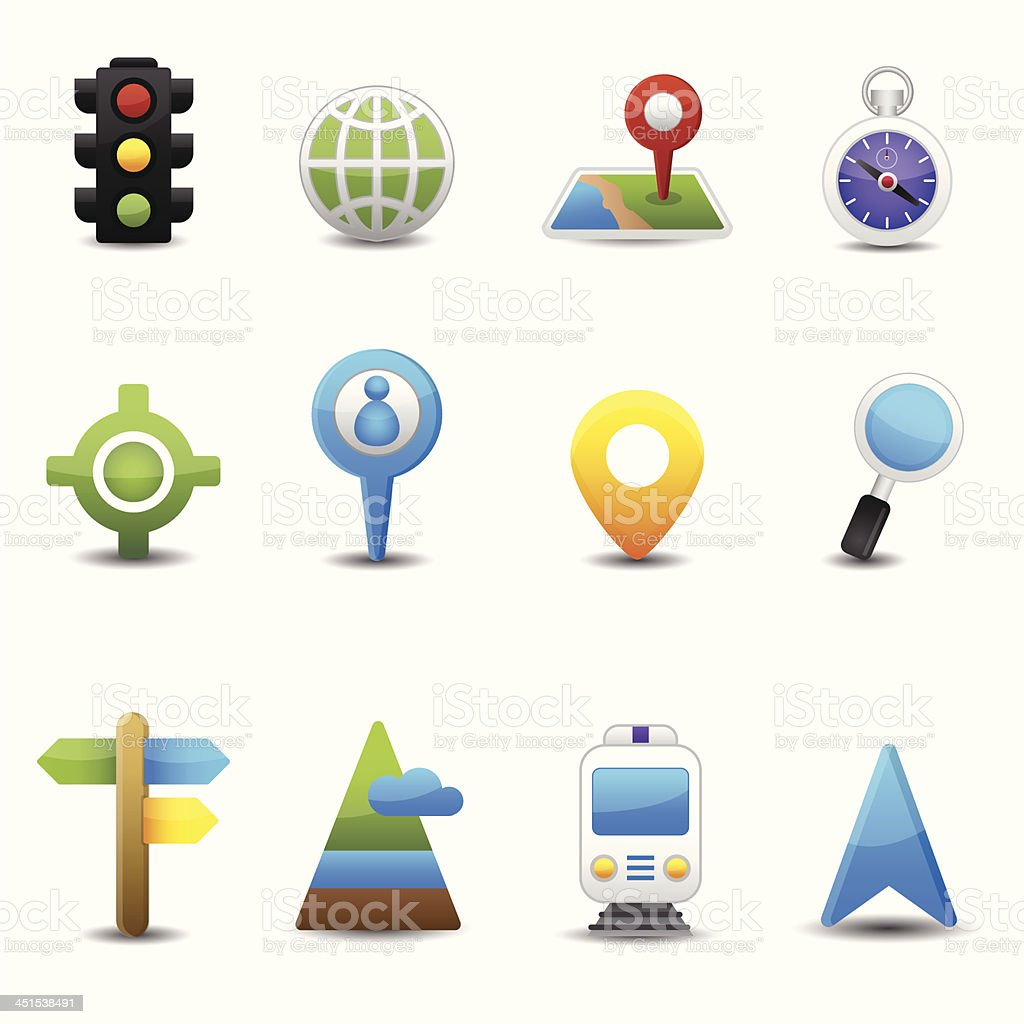 Location and map icons royalty-free stock vector art