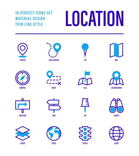 ilustraciones, imágenes clip art, dibujos animados e iconos de stock de ubicación y conjunto de navegación. puntero, pin, mapa doblado, brújula, ruta, bandera, dirección, búsqueda, semáforo, globo. ilustración vectorial. - íconos de caminos