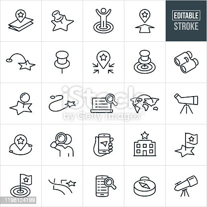 A set of location and search icons that include editable strokes or outlines using the EPS vector file. The icons include map markers, map, pinpoint, push pin, on target, location marker, binoculars, online search, internet search, spotting scope, magnifying glass, business location, gps, compass and telescope to name a few.