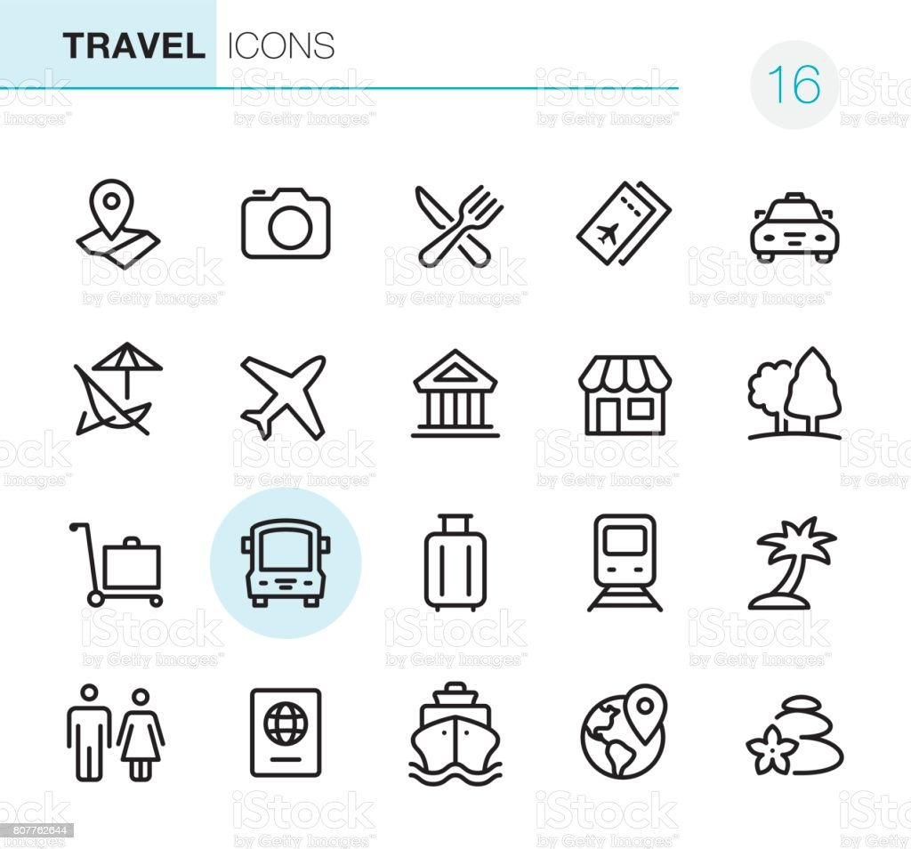 Location and Travel - Pixel Perfect icons vector art illustration