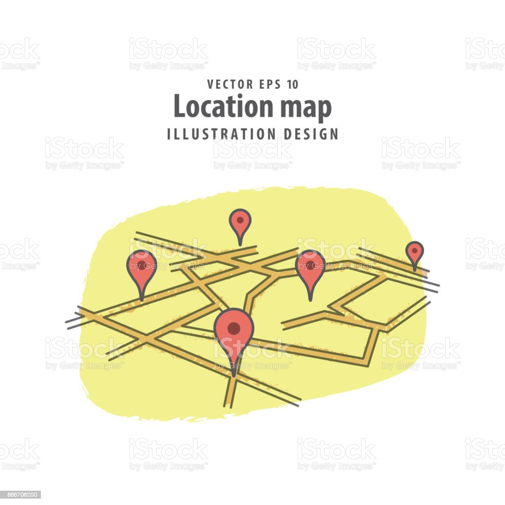 Location check in road map illustration vector background. Travel concept. vector art illustration