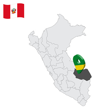 Location Department of Madre de Dios on map Peru. 3d location sign similar to the flag of Madre de Dios. Quality map  with  provinces Republic of Peru for your design. EPS10