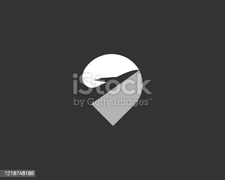 istock Location finder pin point logo design. Airplane creative logotype vector icon symbol. Navigation map sign. 1218748185