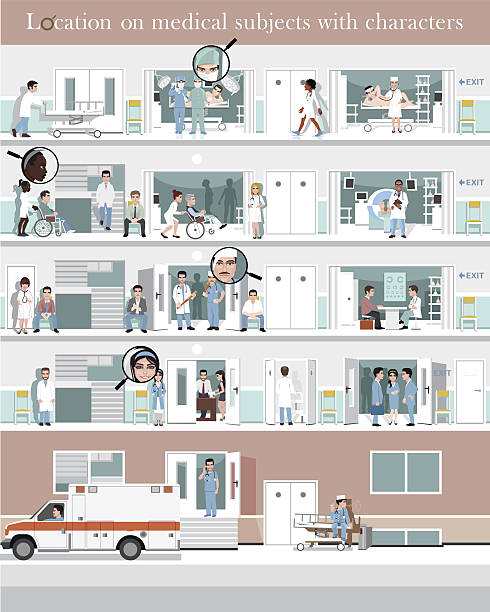 location hospital with characters - 受付係点のイラスト素材/クリップアート素材/マンガ素材/アイコン素材
