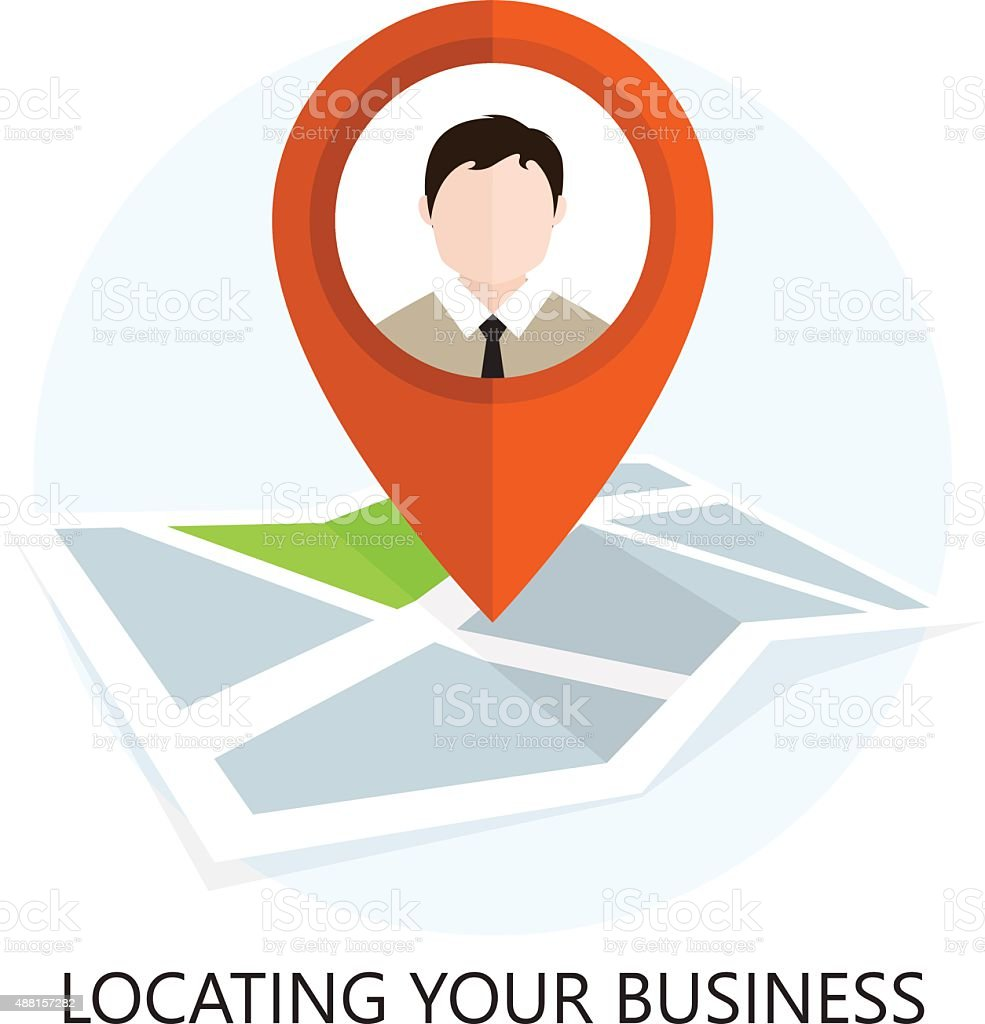 Location Icon. Locating Your Business. Flat Design. vector art illustration