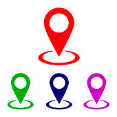 Location icon vector, pin on map