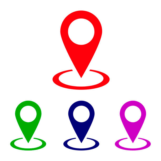 Location icon vector, pin on map Location icon vector, pin on map accuracy stock illustrations