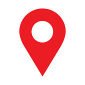 Location icon vector. Pin sign Isolated on white background. Navigation map, gps, direction, place, compass, contact, search concept.