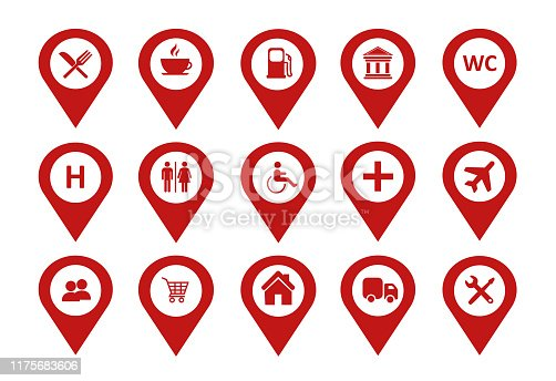 Location Icons set Vector. Map pin location icons set on White background.