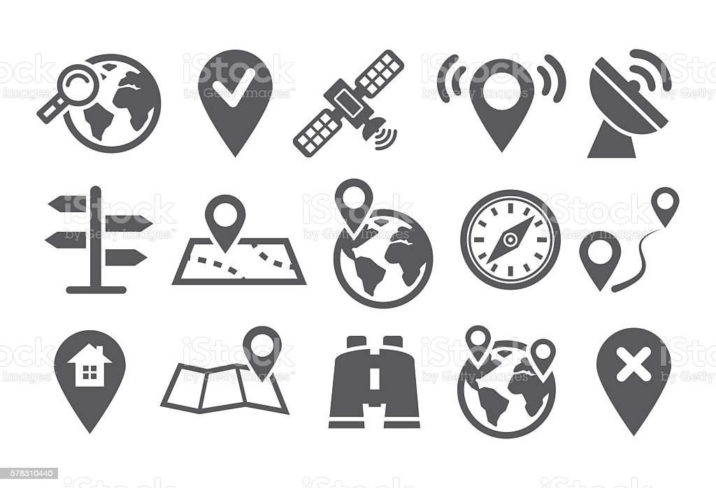 Location Icons vector art illustration