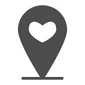 Location indicator with heart solid icon, lovely place concept, Favorite location sign on white background, GPS pointer with heart icon in glyph style for mobile and web. Vector graphics