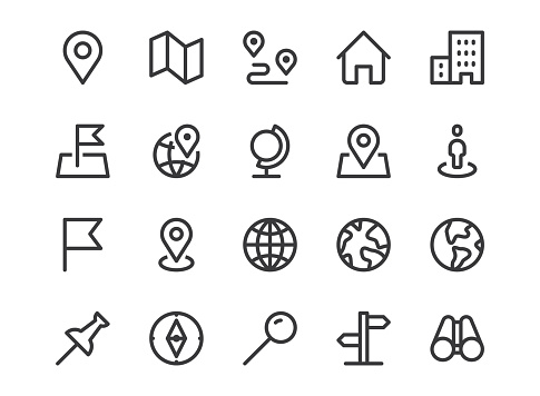 Location line icon. Minimal vector illustration with simple outline icons as map, pin, travel, gps, marker, globe, earth, destination and other business pictogram. Editable Stroke. Pixel Perfect