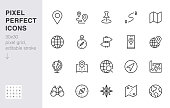 Location line icon set. Compass, travel, globe, map, geography, earth, distance, direction minimal vector illustration. Simple outline sign navigation app ui 30x30 Pixel Perfect Editable Stroke.