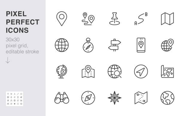zestaw ikon linii lokalizacji. kompas, podróż, kula ziemska, mapa, geografia, ziemia, odległość, kierunek minimalnej ilustracji wektorowej. prosty znak konspektu aplikacja do nawigacji ui 30x30 pixel perfect edytowany skok - globalny stock illustrations