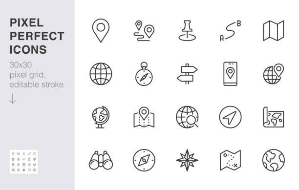 Location line icon set. Compass, travel, globe, map, geography, earth, distance, direction minimal vector illustration. Simple outline sign navigation app ui 30x30 Pixel Perfect Editable Stroke vector art illustration