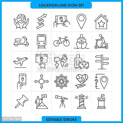 Location Line Icon Set. Editable Stroke