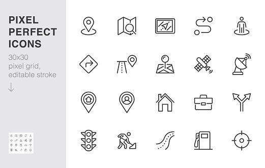 Location line icon set. Gps, proximity, road map, gas station, work destination, place marker minimal vector illustration. Simple outline sign navigation app ui 30x30 Pixel Perfect Editable Stroke