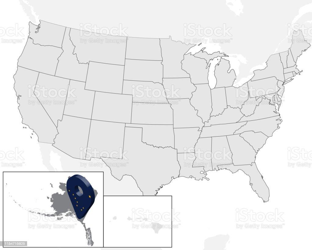 Location Map Alaska Auf Der Karte Usa Usa 3dgeolokationszeichen Wie ...