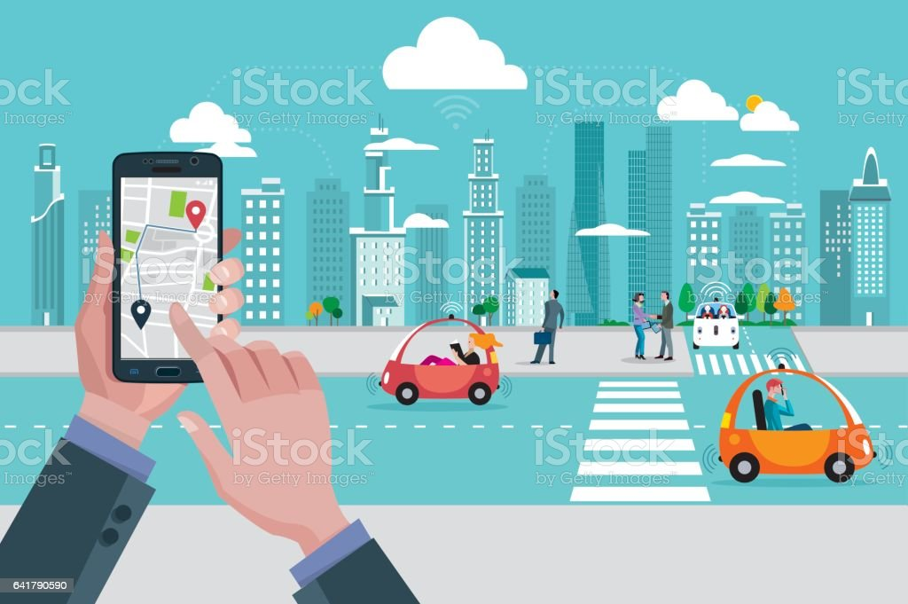 Location Map Application and Self-Driving Urban Car vector art illustration