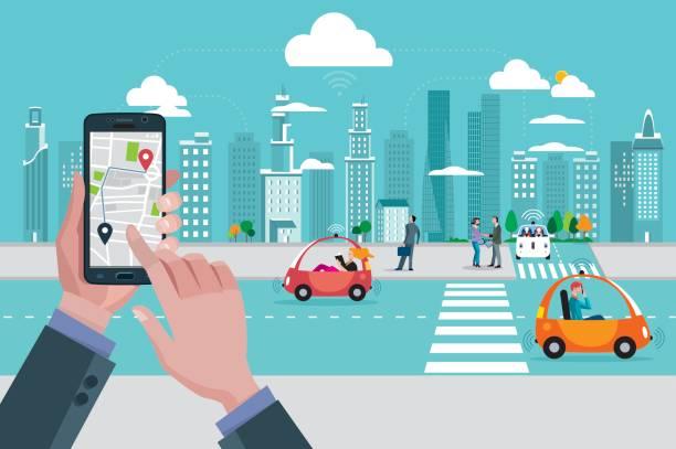 場所マップのアプリケーションと自己運転都市車 - 自動運転車点のイラスト素材/クリップアート素材/マンガ素材/アイコン素材