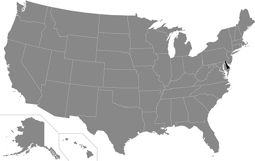 Location map of Delaware, USA