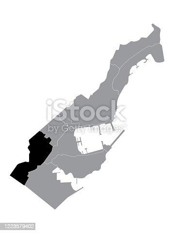istock Location Map of Jardin Exotique Ward 1223579402