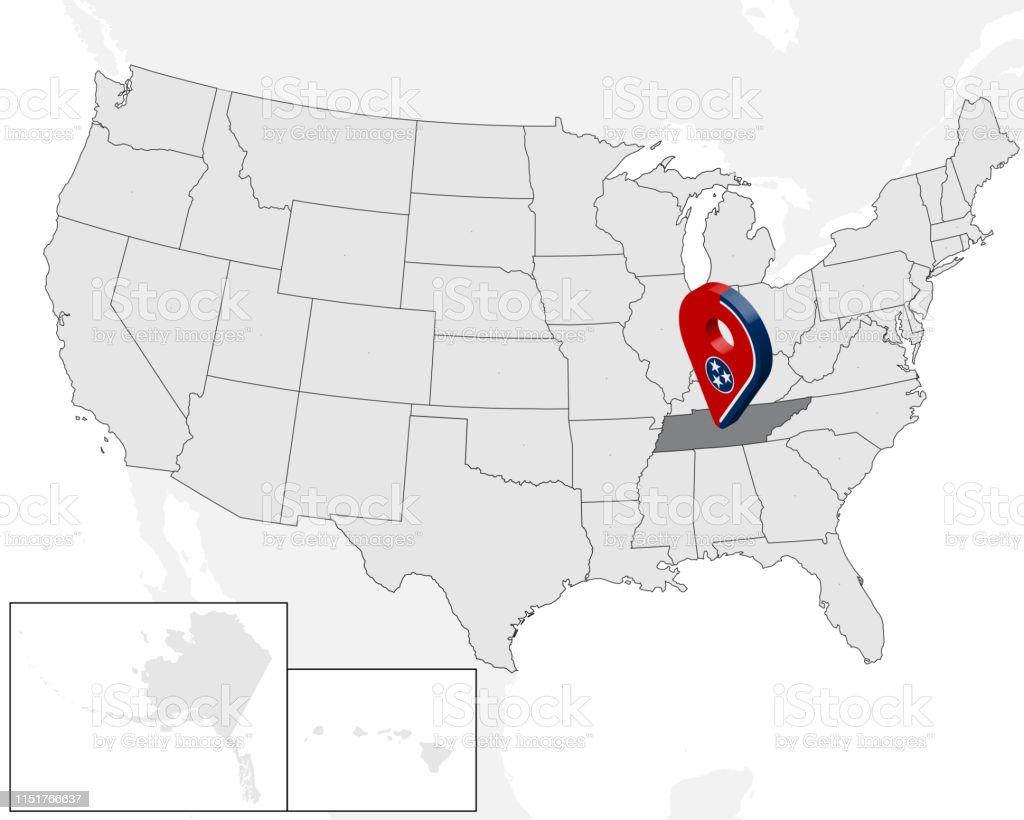 Ilustración de Mapa De La Ubicación Del Estado De Tennessee ...