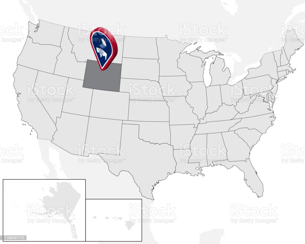 Location Map Of State Wyoming On Map Usa 3d State Wyoming ...