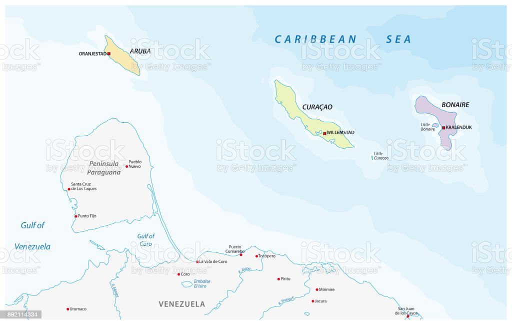 location map of the ABC islands in the Caribbean sea vector art illustration