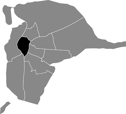 Location map of the Casco Antiguo district of Seville, Spain