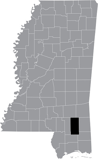 Location map of the Perry County of Mississippi, USA