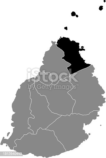 istock Location map of the Rivière du Rempart district of Mauritius 1312540449