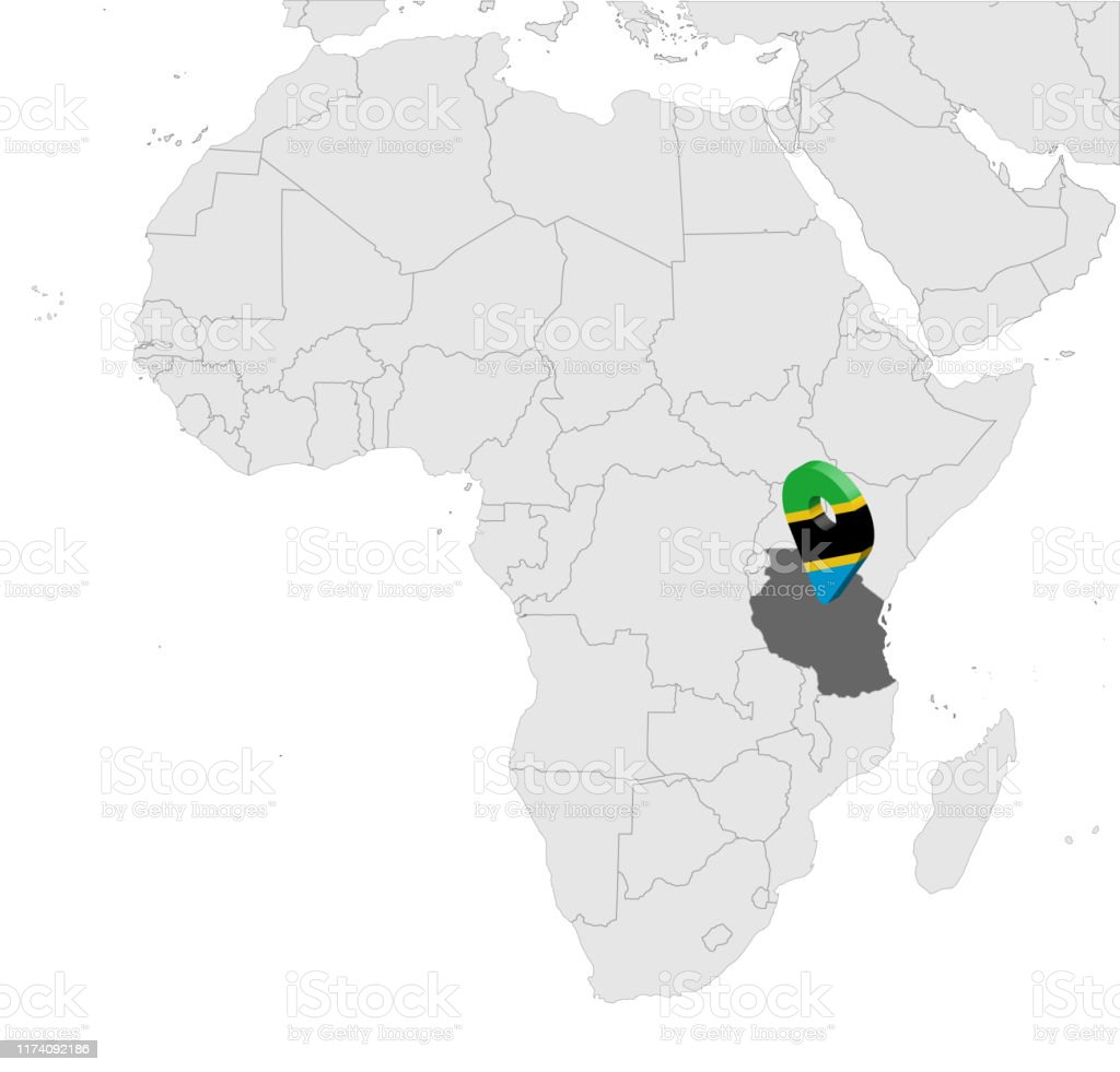 Image of: Location Map United Republic Of Tanzania On Map Africa 3d Tanzania Flag Map Marker Location Pin High Quality Map Of Tanzania Vector Illustration Eps10 Stock Illustration Download Image Now Istock