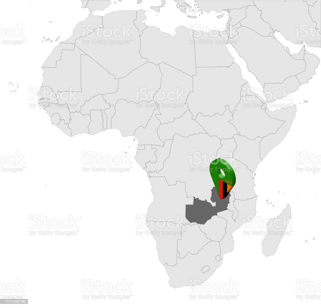 Zambia Map Of Africa.Location Map Zambia On Map Africa 3d Republic Of Zambia Flag
