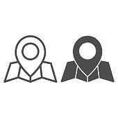 Location marker and map line and solid icon, cartography concept, map with point marker sign on white background, GPS navigator map icon in outline style for mobile and web design. Vector graphics