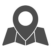 Location marker and map solid icon, cartography concept, map with point marker sign on white background, GPS navigator map icon in glyph style for mobile and web design. Vector graphics