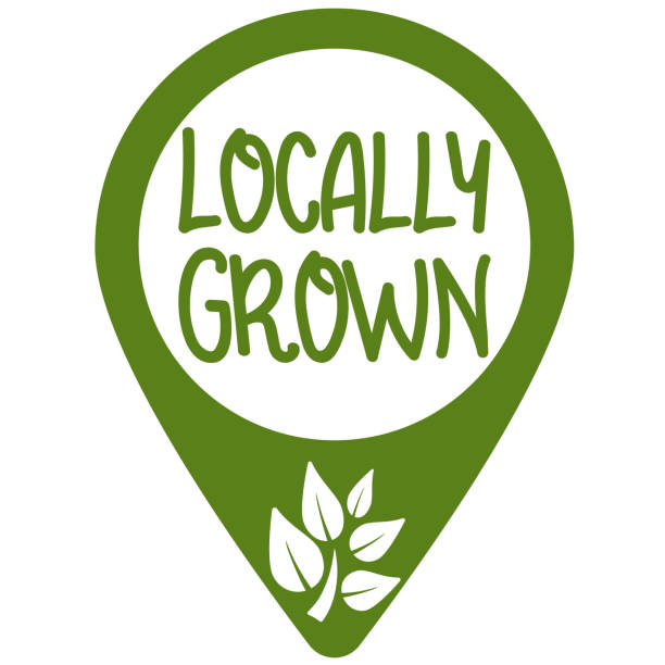 location marker with text LOCALLY GROWN and growing plant symbol location marker or position marker with text LOCALLY GROWN and growing plant symbol, buying local concept, vector illustration ethical consumerism stock illustrations