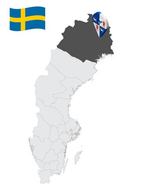 bildbanksillustrationer, clip art samt tecknat material och ikoner med läge norrbottens län på karta sverige. 3d platsskylt som liknar norrbottens läns flagga. kvalitetskarta med regioner i sverige för din design. eps10. - luleå